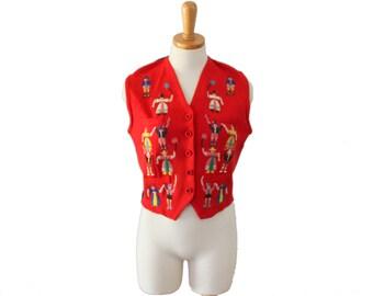 Vintage 1940s Balmoral Embroidered Primitive Design Balmoral Vest - Ladies Small, red black, folk art style
