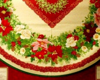 """Christmas Quilt Fabric Panels Christmas Tree Skirt Or Round Tablecloth 60""""Inches"""