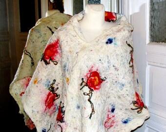 NUNO FELTED SCARF, colorful feltscarf,nuno felted stole,rainbow shawl,wool shawl felted,shawl by Madevalinen