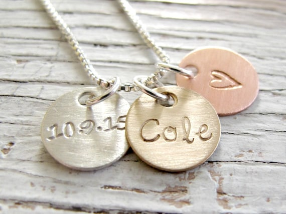 Personalized Initial Jewelry, Hand Stamped Necklace, Mixed Metals, Christmas Gift for Her, Mother's Necklace, Grandma, Gift for Her