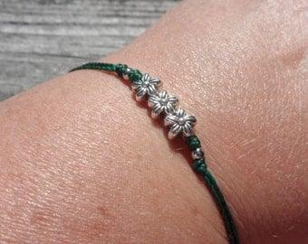 Tiny Silver Flower Minimalist Knotting Cord Bracelet