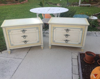 JOHN WIDDICOMB NIGHTSTANDS / Pair of French Louis xvii Style / Widdicomb Baker Side Tables / Shabby Chic Cottage Style at Retro Daisy Girl