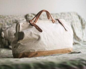 Large Canvas & Leather Handbag Tote