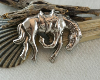 Vintage Sterling Silver Bucking Bronco rodeo Saddled Horse Equestrian Brooch  .....6126