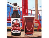 Skiing Painting, Red Chair NWPA, Red Chair Ski Lift Art, Deschutes Brewing, Bend, Oregon Beer Art, Craft Beer Gift, Skiing & Beer Poster