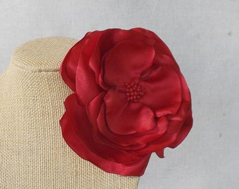 Red Satin Flower Brooch or Clip