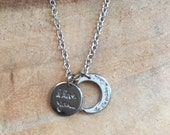 I Love You to The Moon And Back Charm Necklace, Silver Stamped Necklace, Mother Necklace, Grandmother Necklace.Baby Shower Gift.New Mom Gift