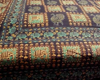 Vintage Cotton Indian Bedspread block print shades of Blue home decor throw