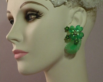 Emerald Feather Earrings