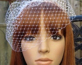 White Birdcage Veil Wedding Bridal Blusher 9 inches French Diamond Net with 4 Inches Loose
