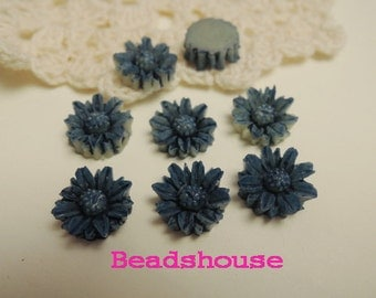 Sale: 625-00-CA  6pcs (10mm) Pretty Chrysanthemum Tie-Dye Cabochon-Blue or Purple
