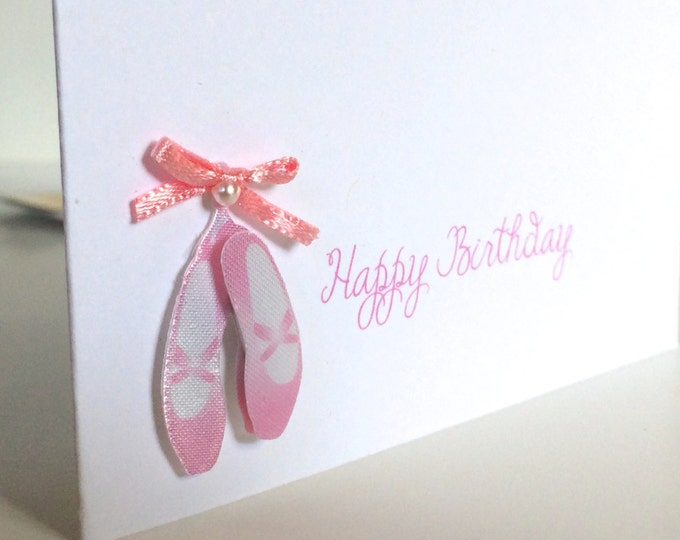 Ballerina Birthday Card, Dance Birthday Card, for little girls, Tiny Dancer, made on recycled paper, comes with envelope and seal