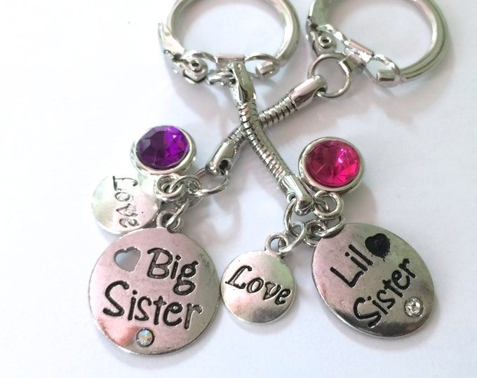 Graduation Gift, Big Sister, Little Sister Keychain, set of two, Sisters Keychain, each comes with three charms