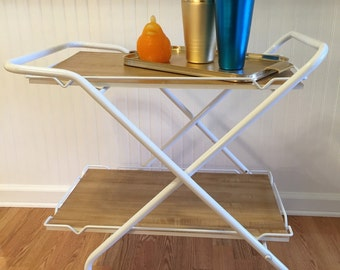 Sale! FOLDING BAR CART 1980s White Rolling Bar Cart Collapses Tiny Home Decor, Mid Century, Modern at Modern Logic