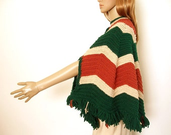 Vintage 1970s Cape Handmade Crochet Green Tan Rust Chevron Poncho / Small