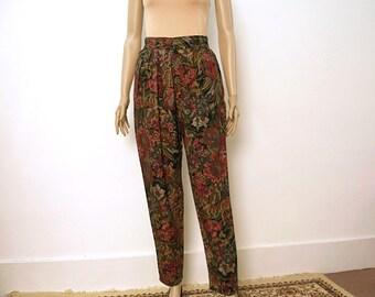 Vintage 1980s Slacks Dark Floral Harem-like High Waist Pants Trousers / Small to Medium