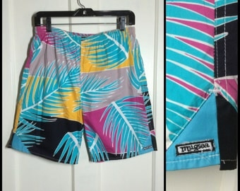 1980s made in California fine cotton Surf Board Shorts drawstring Swim Trunks size 30 Aqua color block abstract tropical bold Palm print