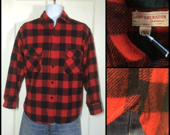 Vintage 1950's bright red and black Wool Shirt Buffalo Plaid size 15.5 Medium Sheraton Sportswear with Gussets