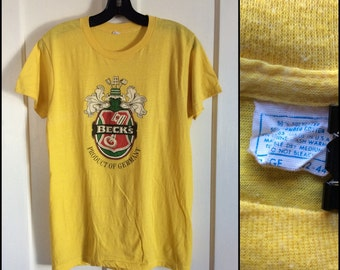 Vintage 1980's Beck's Beer Yellow T-shirt size L German Beer Product of Germany