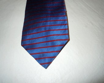 Vintage Givenchy Mens Silk Necktie Blue Red Stripes