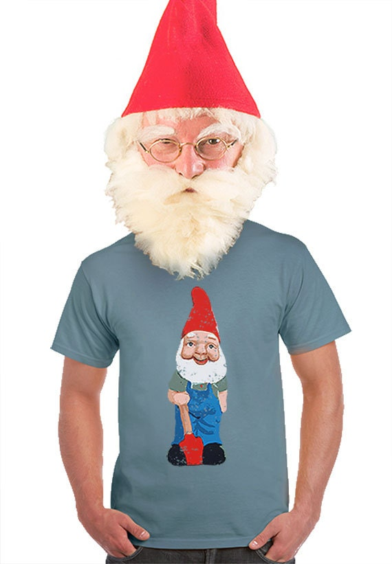 Mens garden gnome t shirt gifts for gardeners kitschy nerd t for Gardening gifts for men