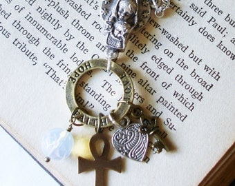 Faith Hope and Love Symbolic Christian Faith Necklace Silver Rosary Connector with Mother and Child Madonna Cross Moonstone Key C 10-7
