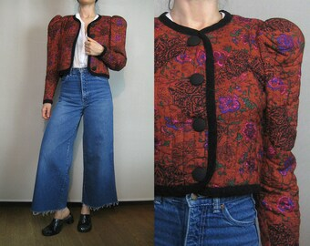 80s QUILTED CROPPED Vintage Burnt Orange Persimmon Puffed Sleeve Floral Persimmon Rayon Victorian Style Bolero Jacket xs Small 1980s
