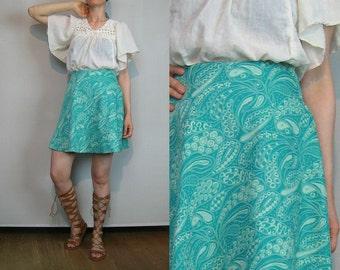 60s MINI Skirt 60s Paisley Mini Skirt 60s Knit Paisley Skirt 60s Knit Mini Skirt Green Paisley Skirt Green Knit Skirt Green Mini Skirt