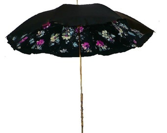 Victorian Painted Canopy Parasol, Antique Brass Parasol Handle