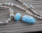 SALE Larimar and Welo opals with freshwater pearls on sterling silver necklace and earrings set