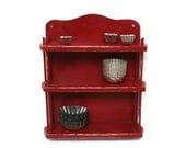 Vintage Display Shelf /  Wood painted Red (c.1950s) / Kitchen Bathroom Decor / Farmhouse Kitchen / Red Kitchen Display