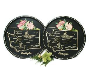 Vintage Souvenir Tray  /  Pair of Serving Trays  /  Washington State  /  Metal Retro Decor  /  Wall Plates  /  USA Road Trip