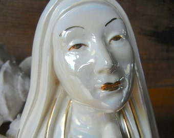 Virgin Mary ceramic planter praying woman White with handpainted Gold highlights religious