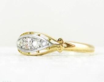 Art Deco Diamond Ring, Vintage Boat Shape Five Stone Diamond Half Hoop Wedding Ring. 18 Carat Yellow Gold, Circa 1920s.