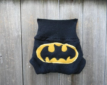 Upcycled Cashmere/ Wool Soaker Cover Diaper Cover With Added Doubler Black With Batman  Applique NEWBORN 0-3M Kidsgogreen