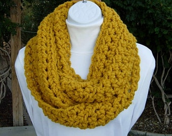 Mustard INFINITY SCARF, Solid Yellow Cowl, Chunky Wool Blend, Handmade Crochet Knit Winter Loop Circle, Neck Warmer..Ready to Ship in 3 Days