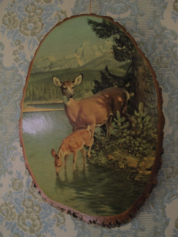Vintage Deer Tree Slice Art 1950s Decoupage Country Cottage