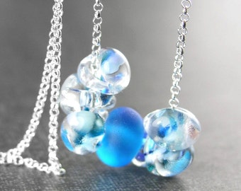 Ocean Blue Drop Necklace Sterling Silver Necklace Aqua Blue Lampwork Necklace Blue Glass Necklace Blue Bead Chain Necklace Artisan Jewelry