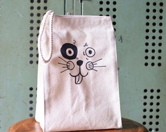 Lunch Box - Lunch Bag - Lunch Tote - Reusable Lunch Bag - Screen Printed Lunch Bag  - Canvas Tote Bag - Lunch Sack - Puppy - Eco Bag - Dog