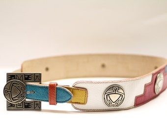 Vintage 80s southwestern navajo style colourful leather belt with silver hardware