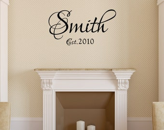 Wall Decal vinyl wall decal home Family name custom colors