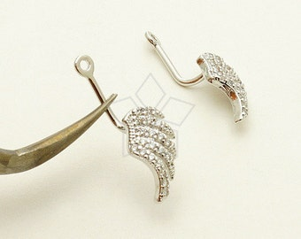 EA-155-OR / 2 Pcs - Ear Jackets (CZ Wings), for Ear Cuffs and Front Back Earrings, Silver Plated over Brass / 6.8mm x 12.8mm