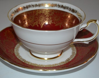 Royal Grafton cup and saucer burgandy red with gold - bone china England teacup