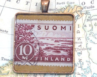 Vintage Finland Postage Stamp Necklace Pendant Key Ring
