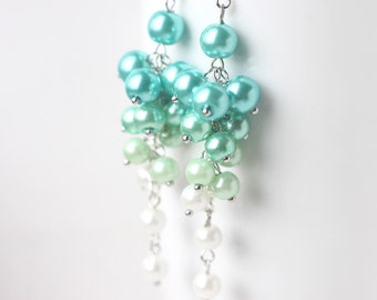 Mint Green Earrings, Spring Bridesmaid Jewelry, Pearl Cluster Long Earrings Ombre Color from Mint Green to White