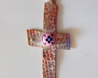 Cross Pendant- Copper/Silver Fusion/Glass