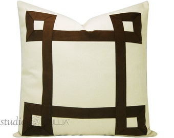 Ribbon Pillow Cover - Greek Key Pillow - Brown Suede Ribbon - Brown and cream - natural cotton - euro sham - ready to ship