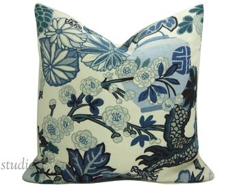 Chiang Mai Dragon - Decorative pillow Cover - 20 inch  - Schumacher - China Blue - made to order