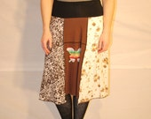 Recycled tee shirt skirt  plus size with yoga pant style waistband P0095