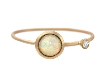 Opal Ring, Engagement Ring, Rose Cut Opal Ring, Opal Diamond Ring, Asymmetrical Ring, October Birthstone, Delicate Gold Ring, Opal, Nixin